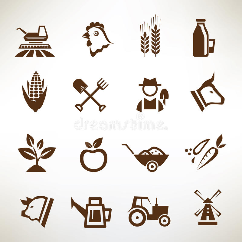 Iconos del vector de la granja y de la agricultura stock de ilustración