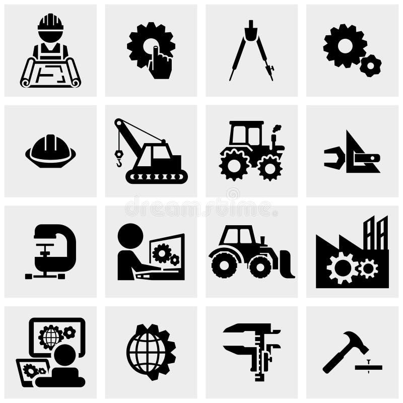 Iconos del vector de la ingeniería fijados en gris stock de ilustración
