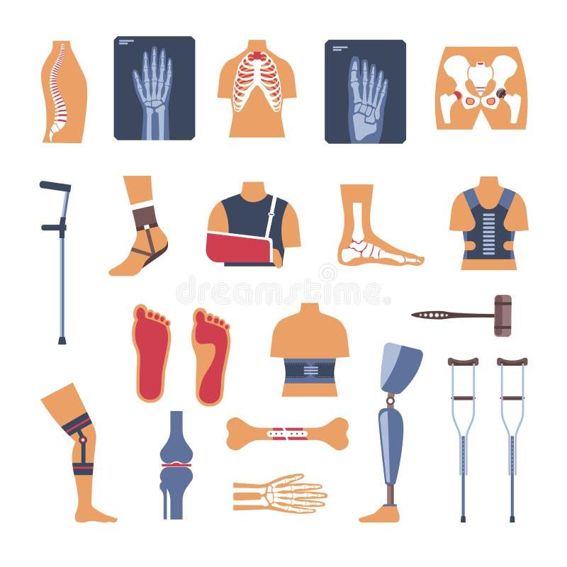 Iconos del vector de la medicina de la cirugía de la ortopedia ilustración del vector