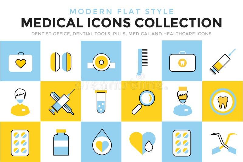 Iconos del vector de la medicina fijados Herramientas de los doctores para stock de ilustración