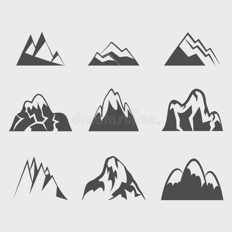 Iconos del vector de la montaña fijados stock de ilustración