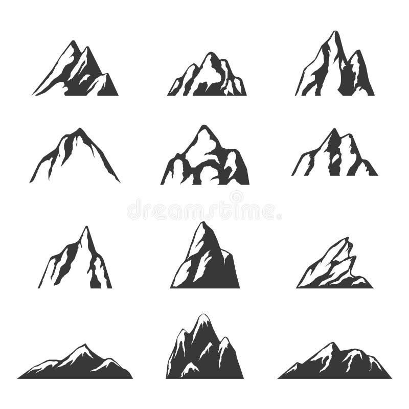 Iconos del vector de la montaña fijados Sistema de elementos de la silueta de la montaña ilustración del vector