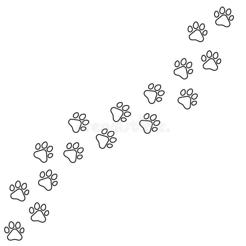 Iconos del vector de la pluma fijados ejemplo del icono de la pluma Huellas negras de perros Impresión de la pata, vector común d ilustración del vector