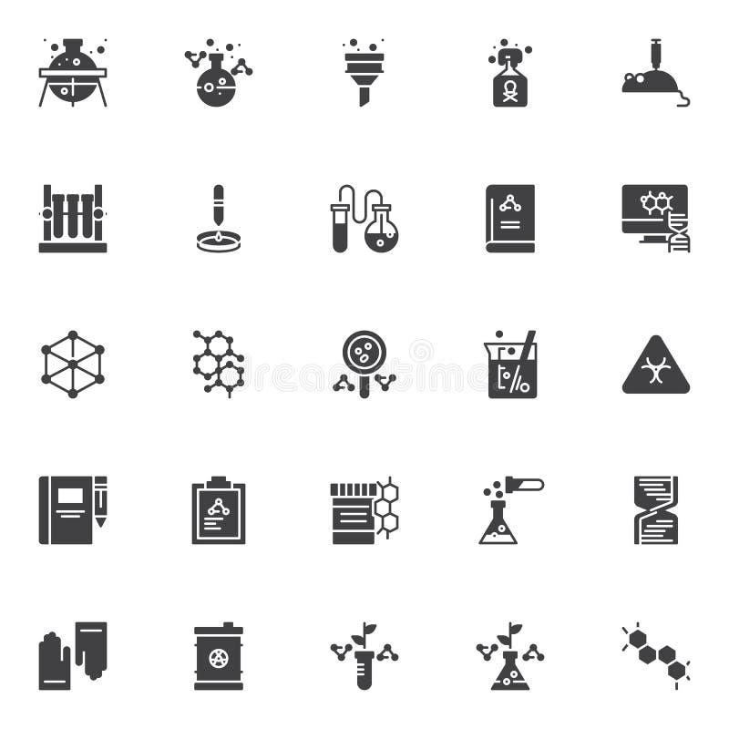 Iconos del vector de la química fijados ilustración del vector