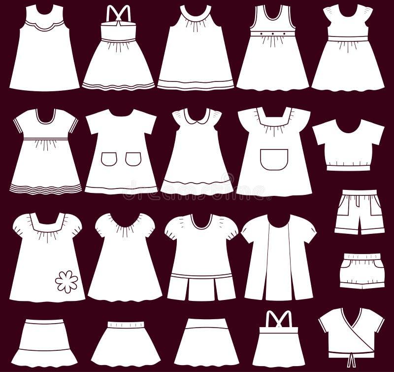 Iconos del vector de la ropa del bebé para las muchachas libre illustration