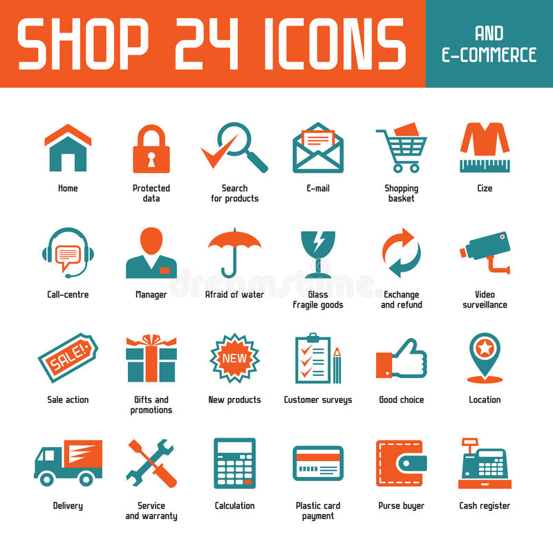 Iconos del vector de la tienda 24 libre illustration