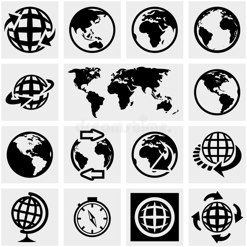 Iconos del vector de la tierra del globo fijados en gris. ilustración del vector