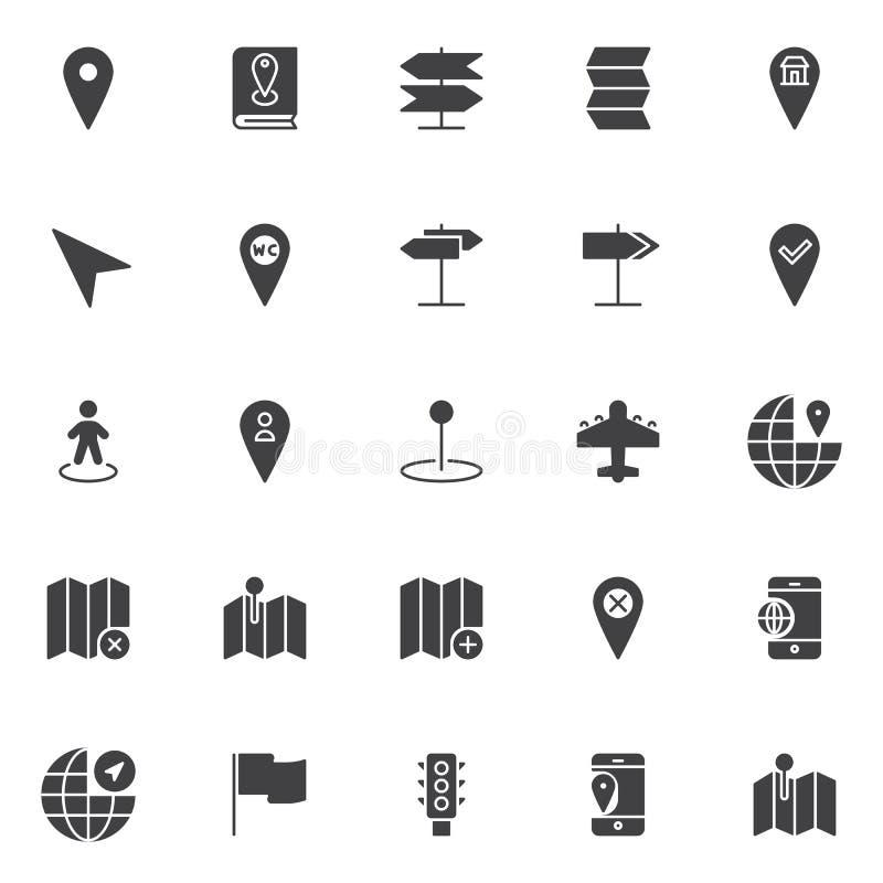 Iconos del vector de la ubicación y de la navegación fijados ilustración del vector