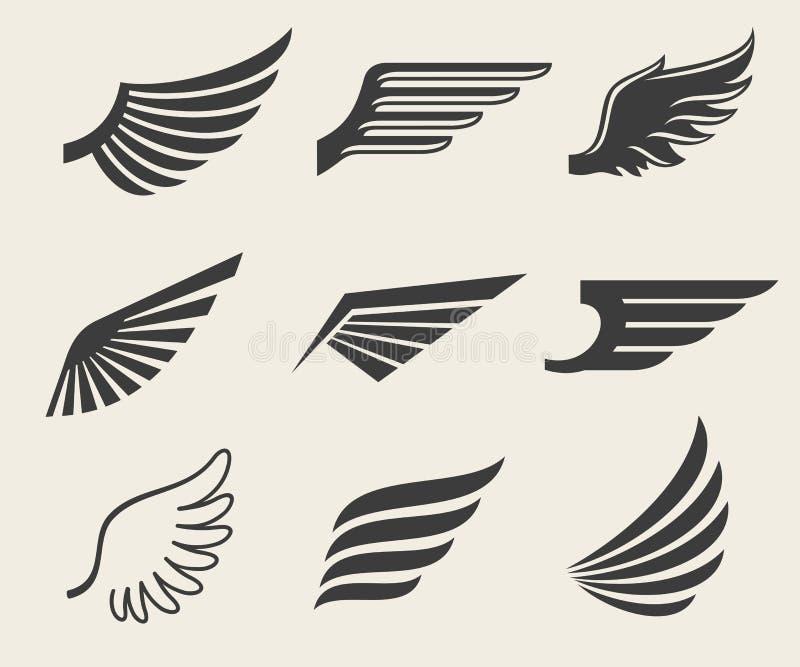 Iconos del vector de las alas fijados ilustración del vector