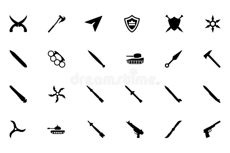 Iconos 5 del vector de las armas ilustración del vector