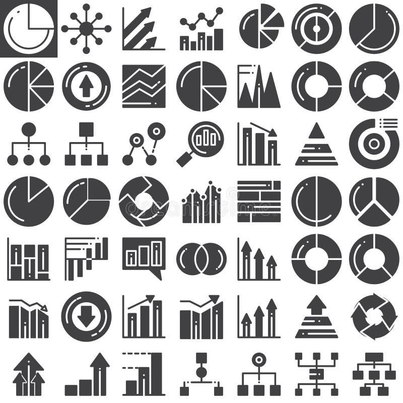 Iconos del vector de las cartas de las finanzas del negocio fijados libre illustration