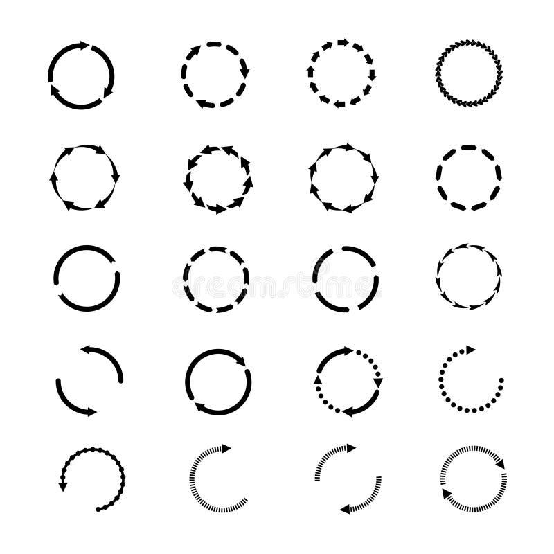 Iconos del vector de las flechas del círculo fijados El web de la rotación de la recarga firma la colección stock de ilustración