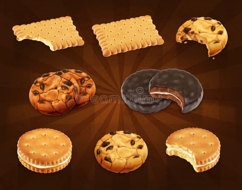 Iconos del vector de las galletas stock de ilustración