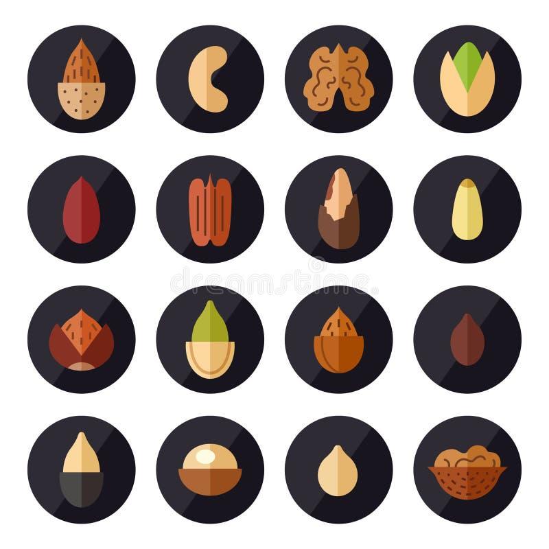 Iconos del vector de las nueces y de las semillas fijados Diseño plano libre illustration