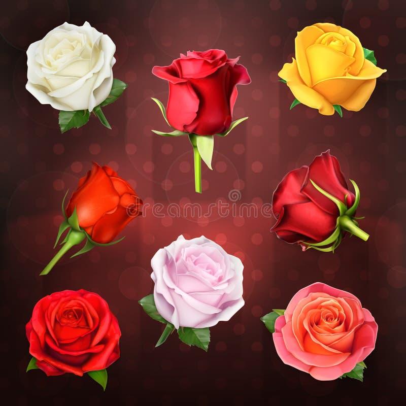 Iconos del vector de las rosas libre illustration