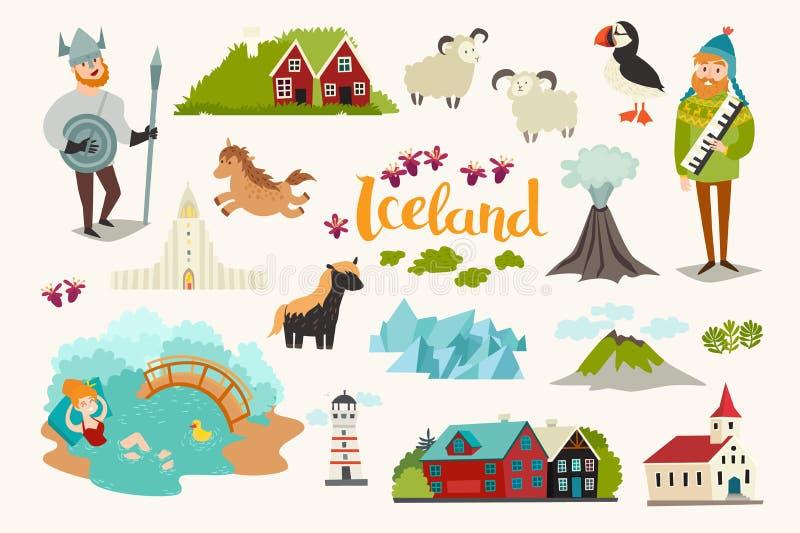 Iconos del vector de las señales de Islandia fijados libre illustration