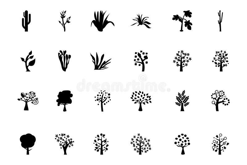 Iconos 4 del vector de los árboles stock de ilustración