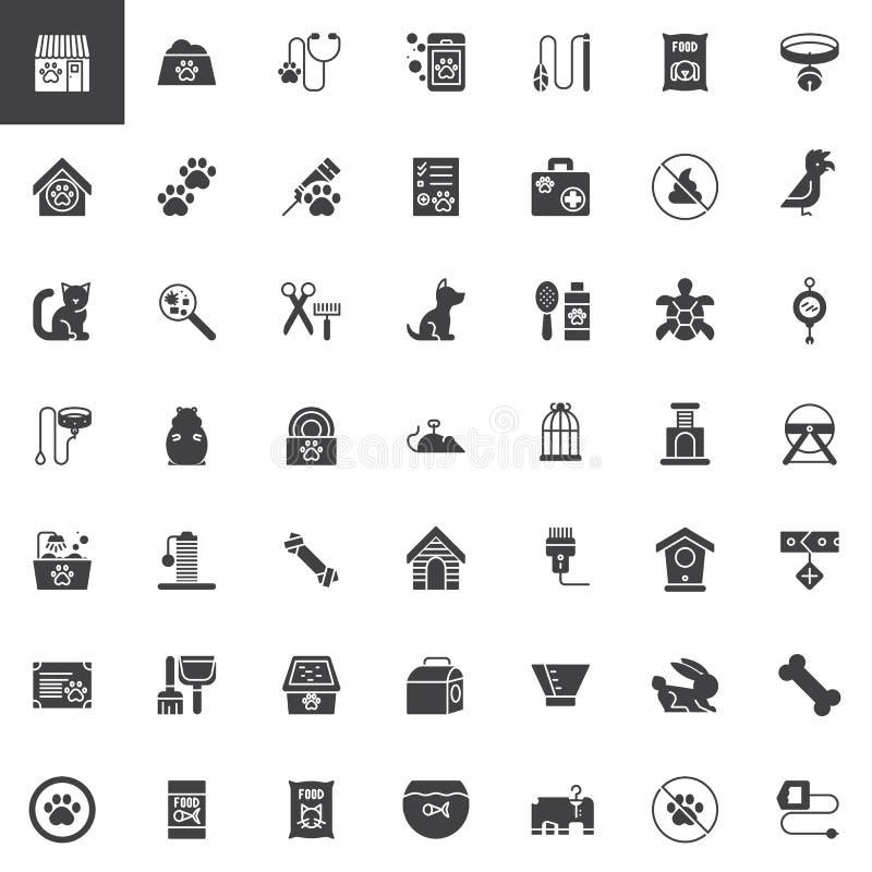 Iconos del vector de los accesorios de la tienda de animales fijados ilustración del vector
