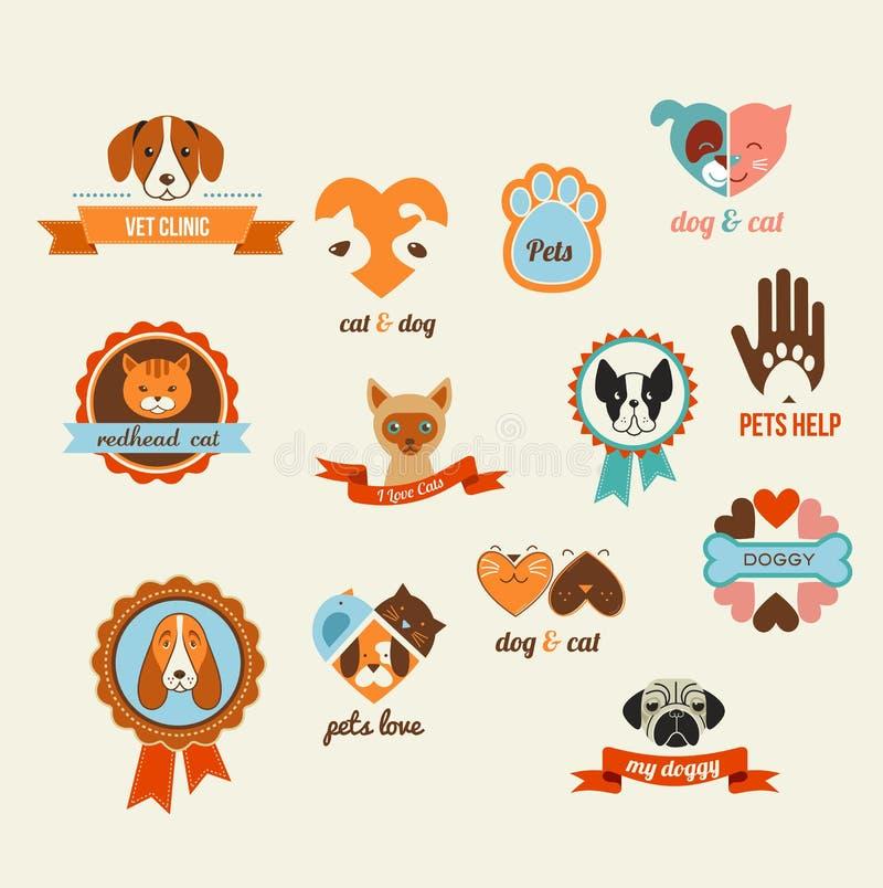 Iconos del vector de los animales domésticos - elementos de los gatos y de los perros stock de ilustración