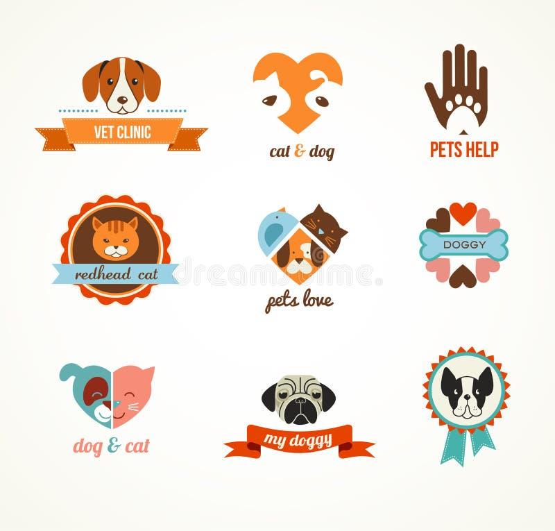 Iconos del vector de los animales domésticos - elementos de los gatos y de los perros ilustración del vector