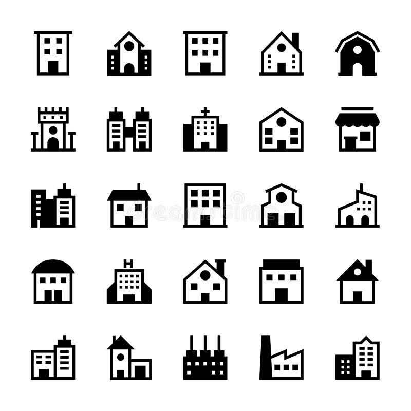 Iconos 1 del vector de los edificios ilustración del vector