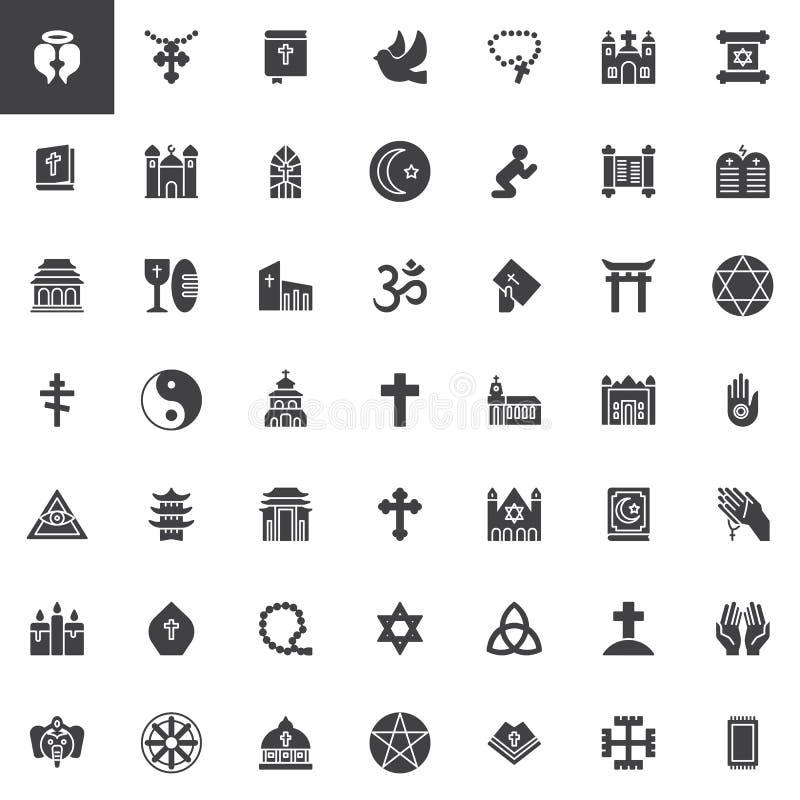Iconos del vector de los elementos de la religión fijados libre illustration