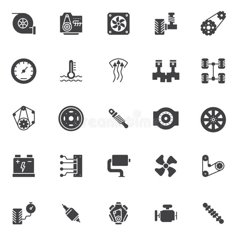Iconos del vector de los elementos del motor de coche fijados stock de ilustración