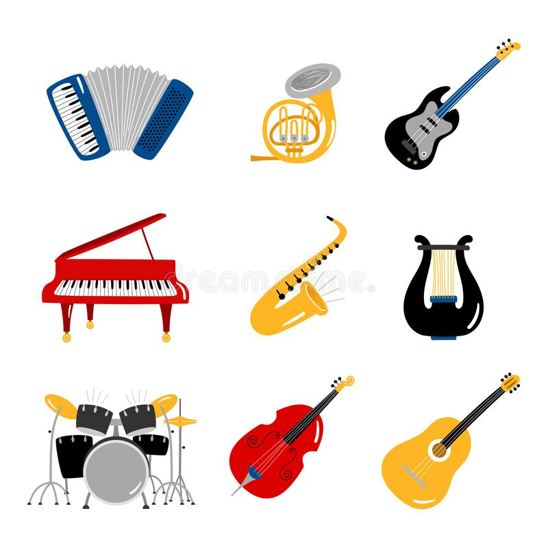 Iconos del vector de los instrumentos de música popular del sistema stock de ilustración