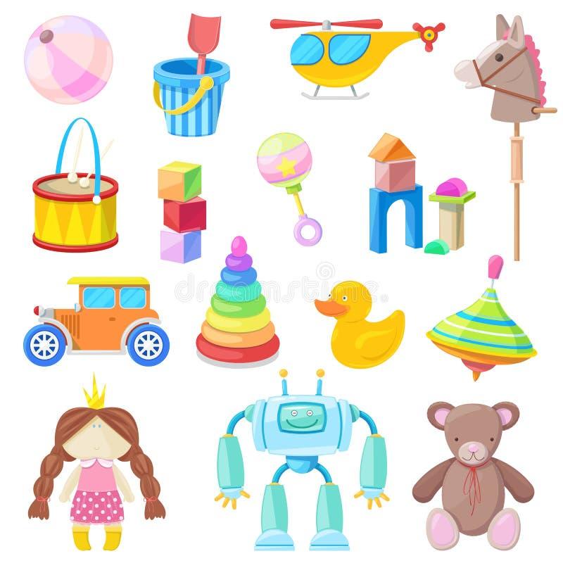 Iconos del vector de los juguetes de los niños fijados Coloree el juguete para el bebé y la muchacha, ejemplo de la historieta stock de ilustración