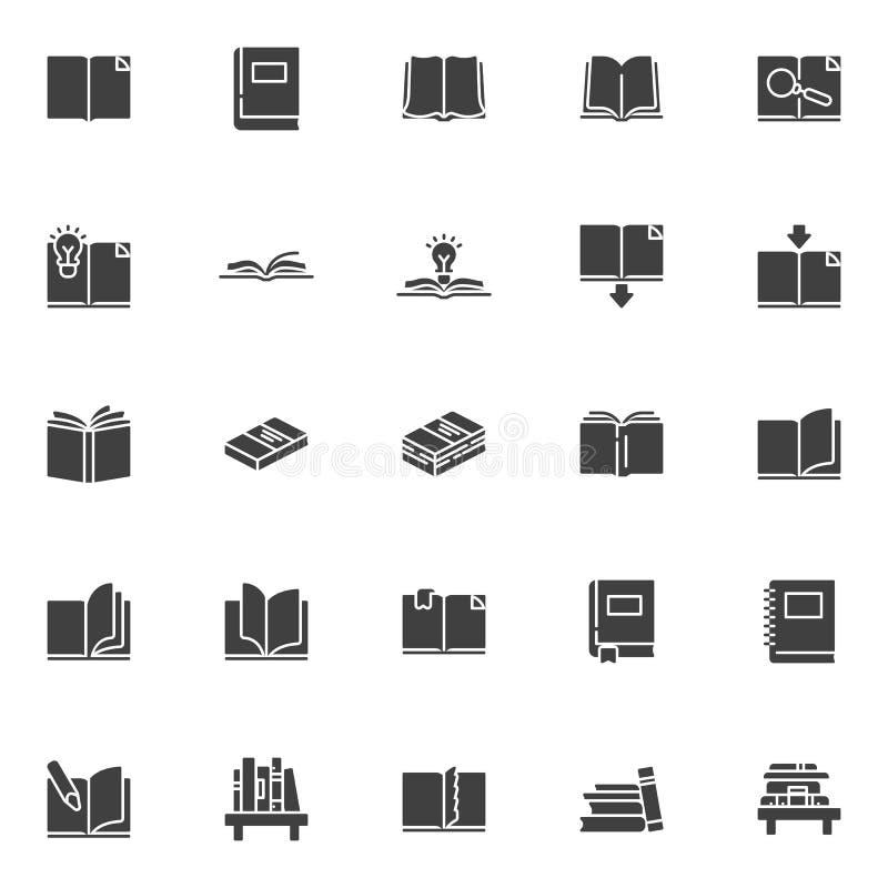 Iconos del vector de los libros fijados ilustración del vector