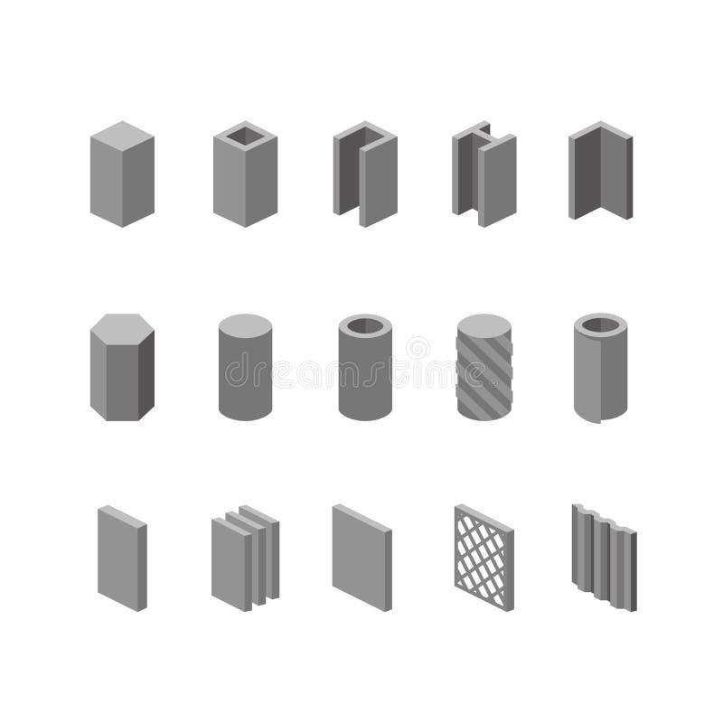 Iconos del vector de los productos de la metalurgia fijados Estructura de acero y tubo stock de ilustración