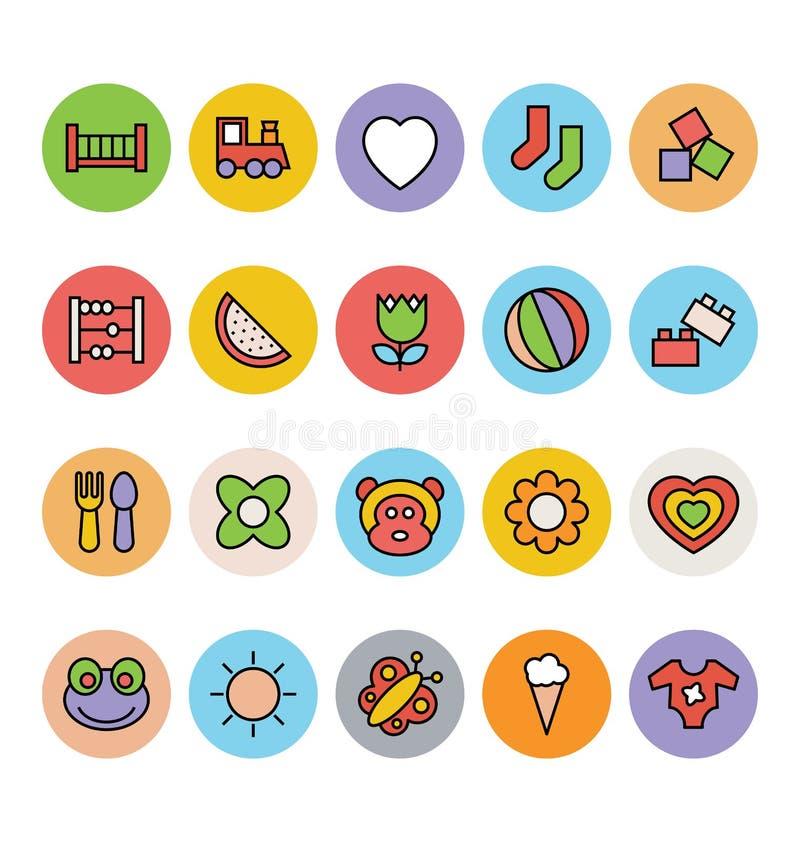 Iconos 2 del vector del bebé ilustración del vector