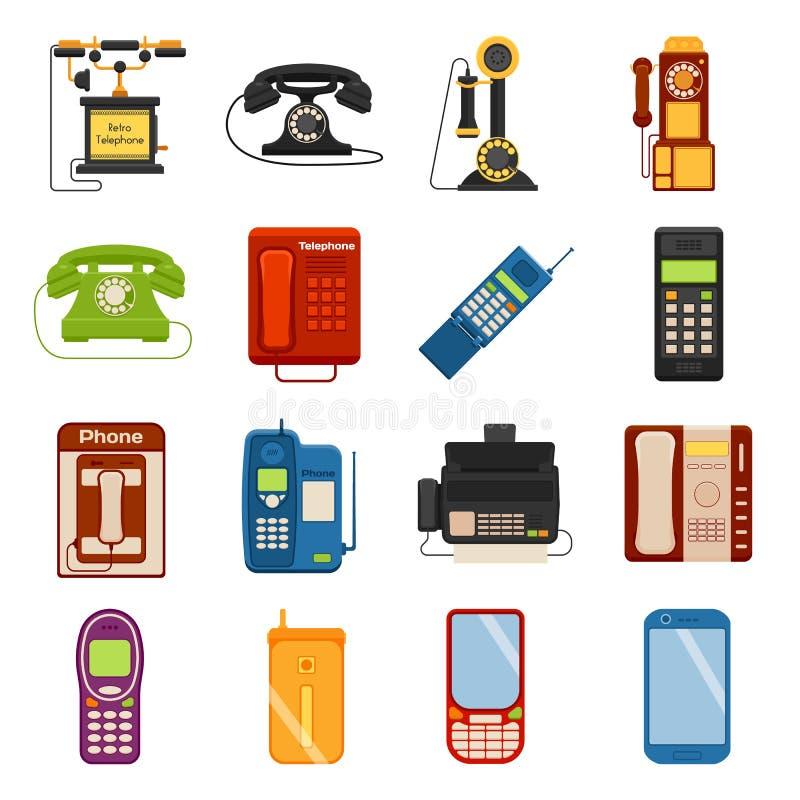 Iconos del vector del dispositivo del contacto de la llamada de la comunicación de los iconos de los teléfonos ilustración del vector