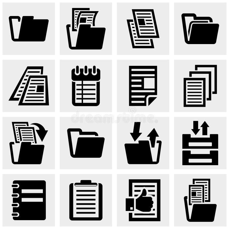 Iconos del vector del documento fijados en gris. ilustración del vector
