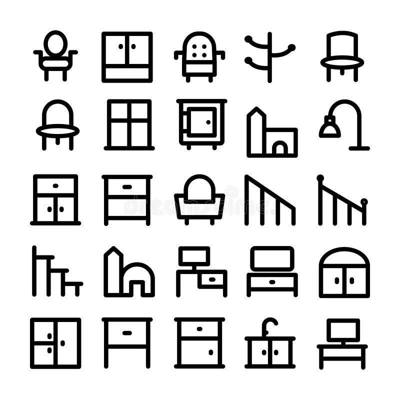 Iconos 15 del vector del edificio y de los muebles stock de ilustración