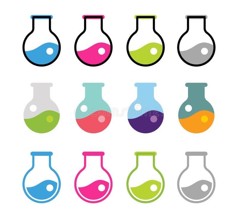 Iconos del vector del equipo de laboratorio fijados stock de ilustración