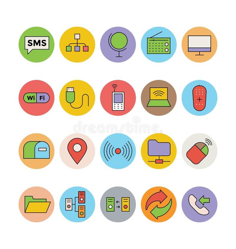 Iconos 2 del vector del establecimiento de una red y de la comunicación ilustración del vector