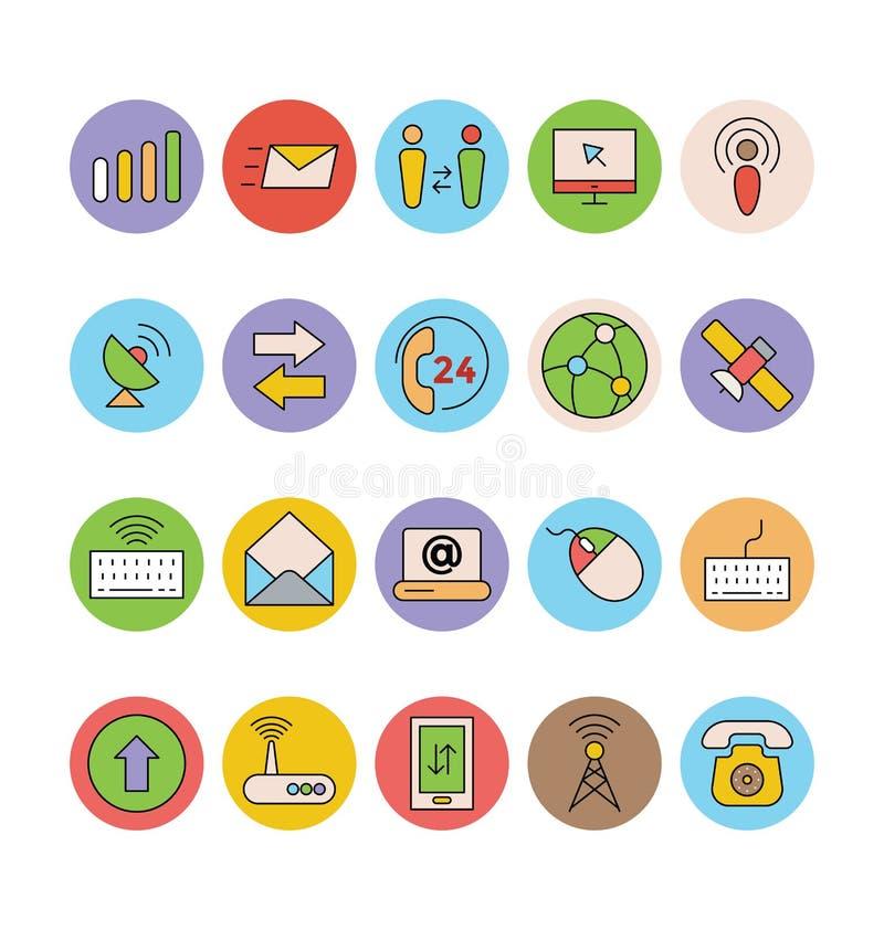Iconos 5 del vector del establecimiento de una red y de la comunicación ilustración del vector