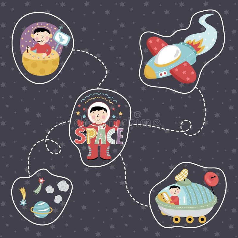 Iconos del vector del estilo de la historieta del espacio fijados stock de ilustración