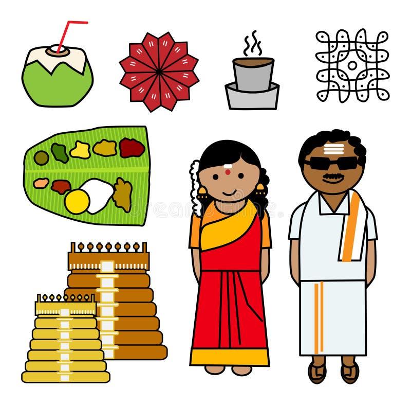 Iconos del vector del Tamil Nadu stock de ilustración