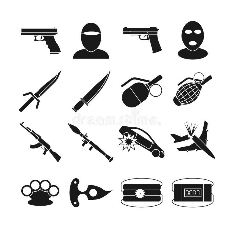 Iconos del vector del terrorismo ilustración del vector