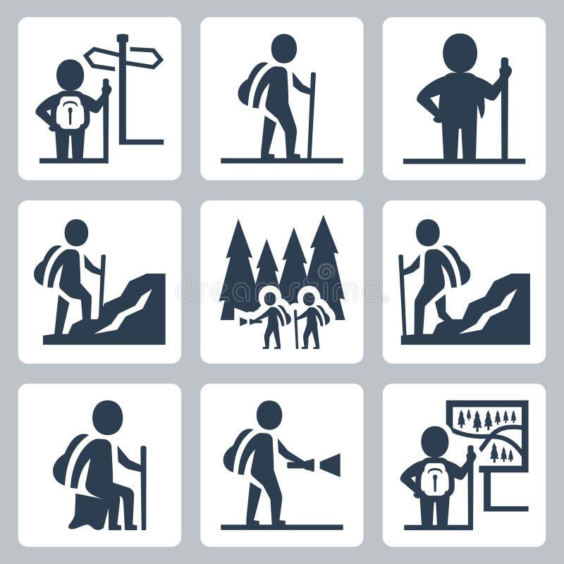 Iconos del vector del viajero stock de ilustración
