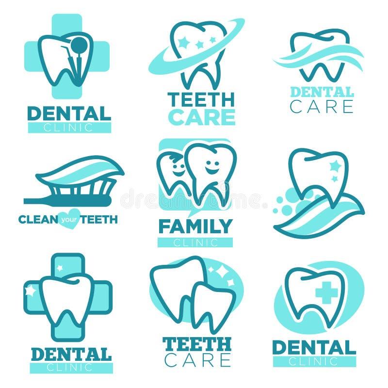 Iconos del vector del diente de la odontología para la clínica dental ilustración del vector