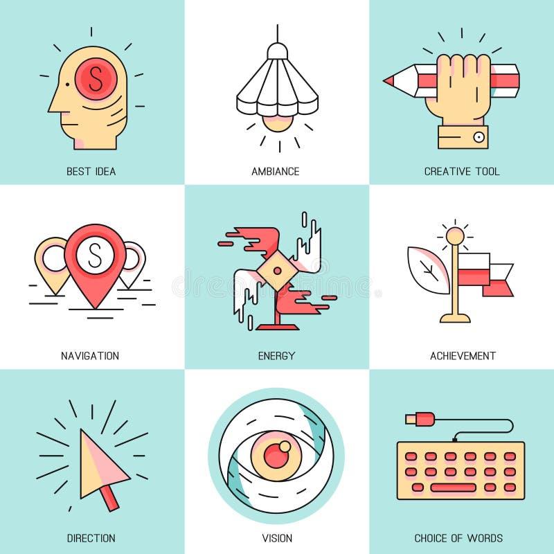 iconos del vector en estilo linear moderno ilustración del vector