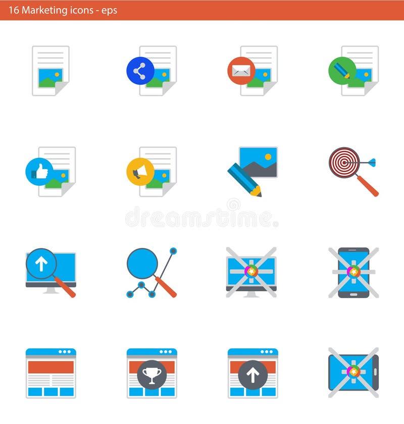 Iconos del vector EPS fijados - márketing y publicidad en estilo material del diseño libre illustration