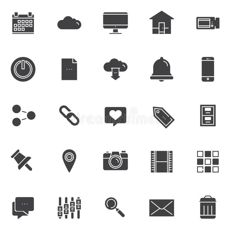 Iconos del vector del esencial fijados ilustración del vector