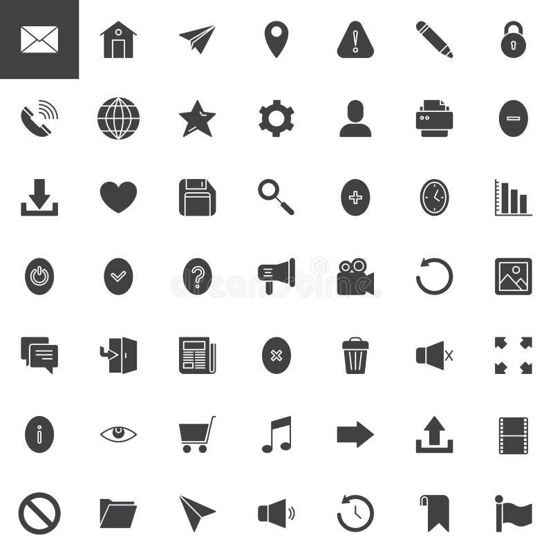 Iconos del vector del esencial del web fijados ilustración del vector