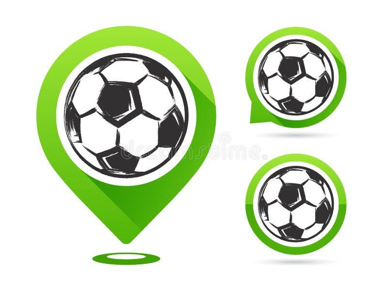 Iconos del vector del fútbol aislados en blanco Meta del fútbol Sistema de iconos del fútbol Indicador del mapa del fútbol Bola d stock de ilustración