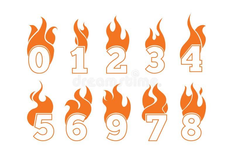 Iconos del vector fijados de números llameantes libre illustration