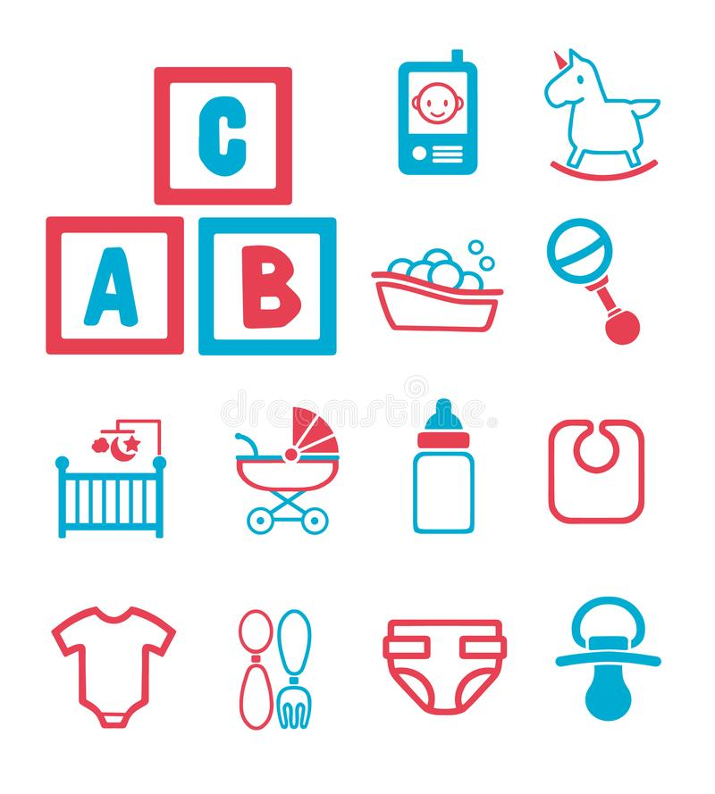 Iconos del vector fijados para crear el infographics relacionado con los bebés, niños, y parto, incluyendo caballo mecedora lindo ilustración del vector